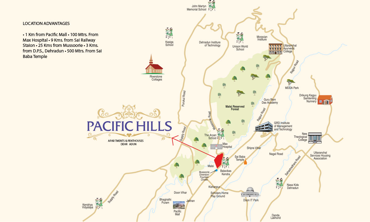 Location Map – Pacific Hills Dehradun